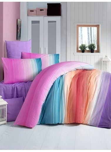 Komfort Home Tek Kişilik Polycotton Nevresim Takımı (Rainbow) Renkli